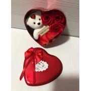 Подарочный набор Bear & Flowers Red розы из мыла в коробке в виде сердца с плюшевым медведем для женщин и мужчин Красный