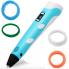 3д ручка MyRiwell Air 3d Pen с набором пластика 5 шт по 10 м для начинающих, детей и взрослых с дисплеем 18 см Голубая