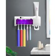 Щетка держатель Sterilizer Pro дозатор для зубной пасты и стерилизатор на 5 щеток 2 в 1 Белый