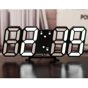 Часы настольные City Style электронные с термометром и будильником 9,3 х 24 х 4 см Черные