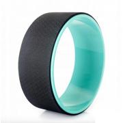 Колесо для йоги Yoga Wheel тренажер для спины и шеи Диаметр 32 см Черно-бирюзовый