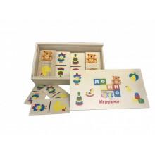 """Домино """"Игрушки"""" деревянные карточки"""